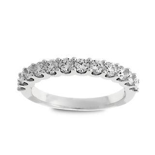 Azaro Jewelry 14k White Gold 3/4ct TDW Round Diamond Halfway Wedding Band
