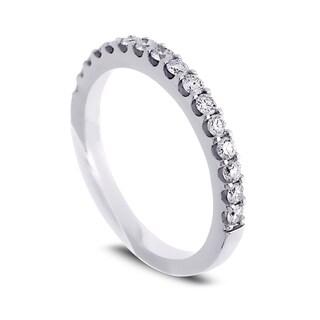 Azaro Jewelry 14k White Gold 2/5ct TDW Diamond Halfway Wedding Band (G-H, SI1-SI2)