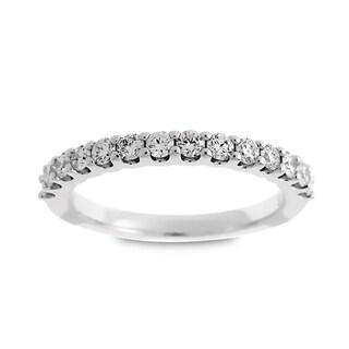 Azaro Jewelry 14k White Gold 1/2ct TDW Round Diamond Halfway Wedding Band