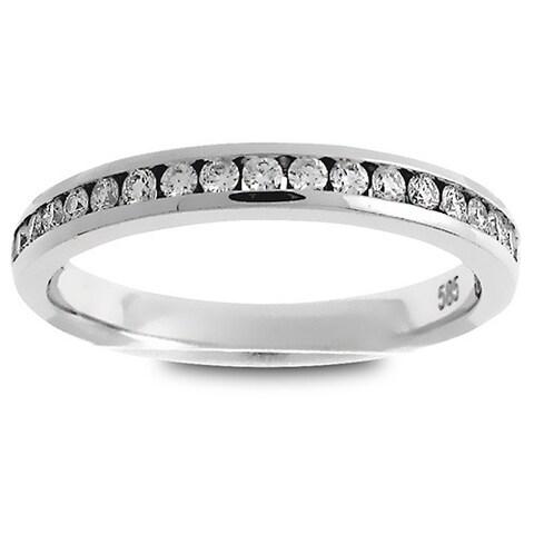 Azaro Platinum 1/4ct TDW Round Diamond Halfway Wedding Band
