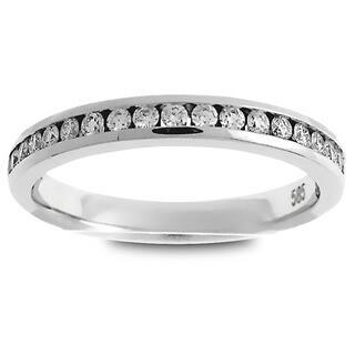 Azaro Platinum 1/4ct TDW Round Diamond Halfway Wedding Band|https://ak1.ostkcdn.com/images/products/12032616/P18905193.jpg?impolicy=medium