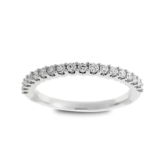 Azaro Jewelry 14k White Gold 1/3ct TDW Round Diamond Halfway Wedding Band (G-H, SI1-SI2)