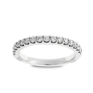 Azaro Jewelry 14k White Gold 2/5ct TDW Round Diamond Halfway Wedding Band