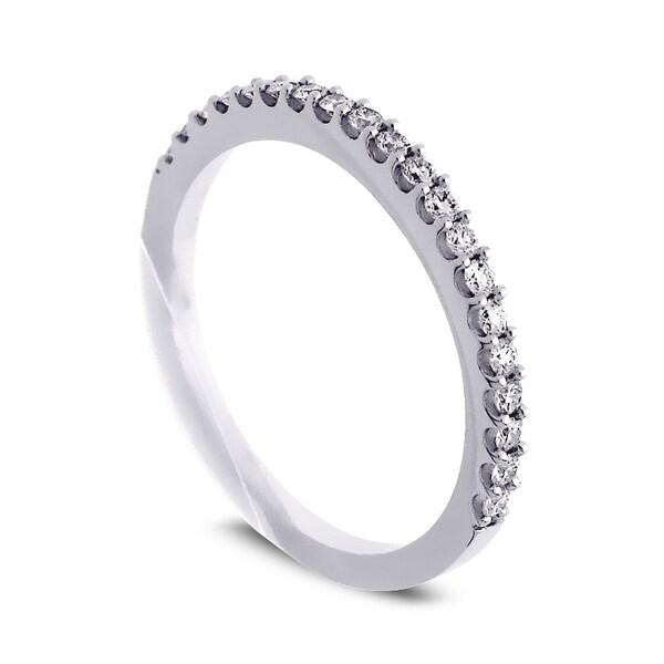Azaro Jewelry 14k White Gold 1/4ct TDW Round Diamond Halfway Wedding Band