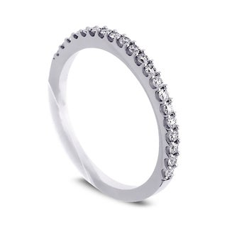 Azaro Jewelry 14k White Gold 1/4ct TDW Round Diamond Halfway Wedding Band