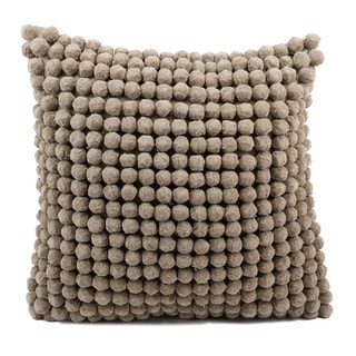 Mina Victory Pom Collection Grey Throw Pillow by Nourison (20-Inch X 20-Inch)