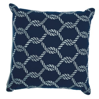 Mina Victory Indoor/ Outdoor Woven Ropes Navy/ White Throw Pillow by Nourison (20 x 20-inch)