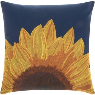 Mina Victory Indoor/ Outdoor Sunflower Navy Throw Pillow by Nourison (18 x 18-inch)