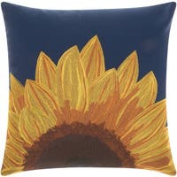 Mina Victory Indoor/ Outdoor Sunflower Navy Throw Pillow by Nourison (18-Inch X 18-Inch)