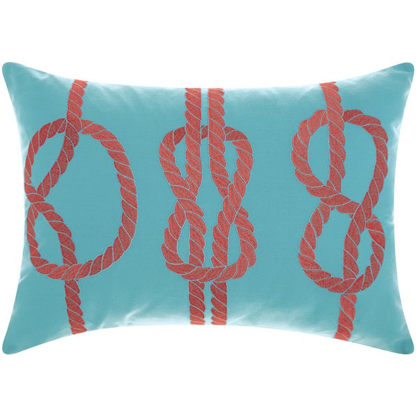 Mina Victory Outdoor Three Knots Turquoise/ Coral Throw Pillow by Nourison (14-Inch X 20-Inch)