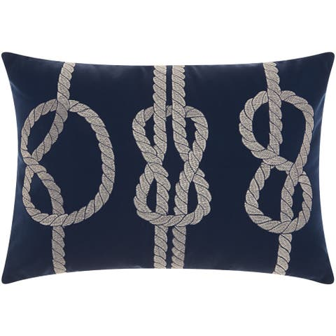 Mina Victory Indoor/ Outdoor Three Knots Navy/ WhiteThrow Pillow by Nourison (14-Inch X 20-Inch)