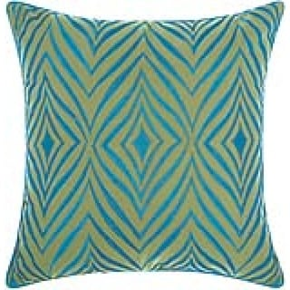 Mina Victory Indoor/ Outdoor Wild Chevron Green/ Turquoise Throw Pillow by Nourison (18 x 18-inch)