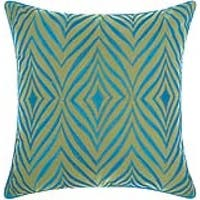 Mina Victory Indoor/ Outdoor Wild Chevron Green/ Turquoise Throw Pillow by Nourison (18-Inch X 18-Inch)