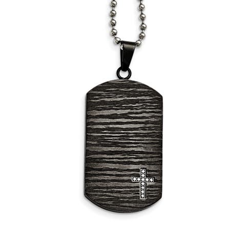 Chisel Black Stainless Steel and Diamond 24-inch Dog Tag Necklace