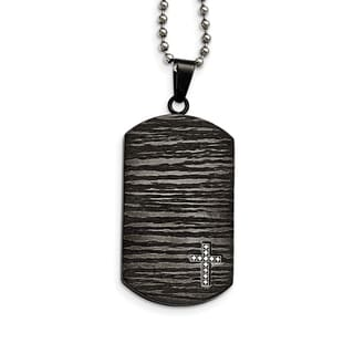 Versil Black Stainless Steel and Diamond 24-inch Dog Tag Necklace