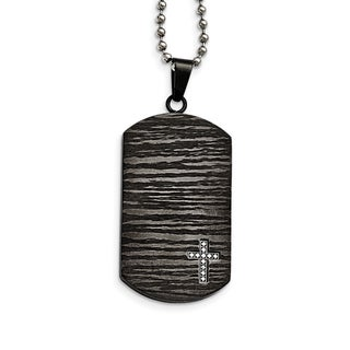 Link to Chisel Stainless Steel Polished and Brushed IP-Plated 1/10ct.Tw Diamond Dog Tag Necklace Similar Items in Men's Jewelry
