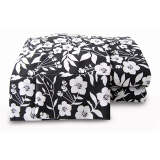 Grey Floral 200-thread-count Organic Printed Sheet Set