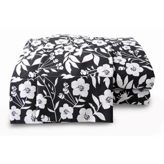 Grey Floral 200-thread-count Organic Printed Sheet Set