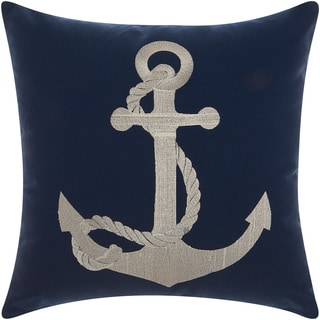 Mina Victory Indoor/ Outdoor Anchor Navy/ White Throw Pillow by Nourison (18 x 18-inch)