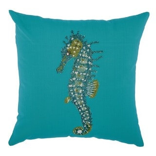 Mina Victory Indoor/ Outdoor Beaded Seahorse Turquoise Throw Pillow by Nourison (18 x 18-inch)