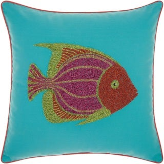 Mina Victory Indoor/ Outdoor Beaded Fish Turquoise/ Coral Throw Pillow by Nourison (18-Inch X 18-Inch)