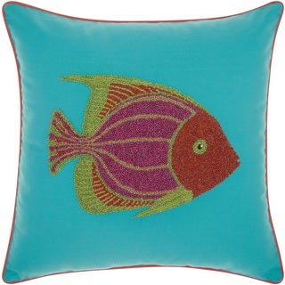 Mina Victory Indoor/ Outdoor Beaded Fish Turquoise/ Coral Throw Pillow by Nourison (18 x 18-inch)