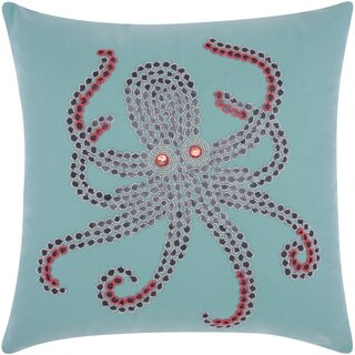Mina Victory Indoor/ Outdoor Beaded Octopus Aqua/ Coral Throw Pillow by Nourison (18-Inch X 18-Inch)