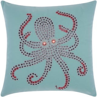 Mina Victory Indoor/ Outdoor Beaded Octopus Aqua/ Coral Throw Pillow by Nourison (18 x 18-inch)
