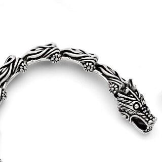 Versil Stainless Steel Antiqued Dragon 8.25-inch Bracelet