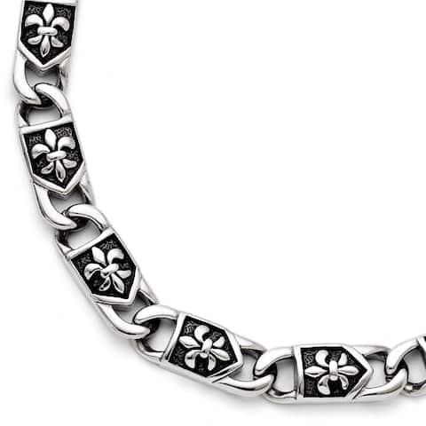 Chisel Stainless Steel Polished and Antiqued Fleur De Lis Bracelet
