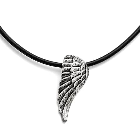 Chisel Stainless Steel Black Leather Antiqued Wing Necklace