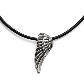 Versil Stainless Steel Black Leather Antiqued Wing Necklace