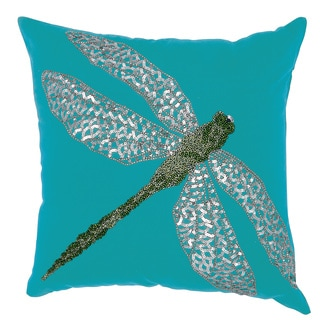 Mina Victory Indoor/ Outdoor Beaded Dragonfly Turquoise/ Green Throw Pillow by Nourison (18 x 18-inch)