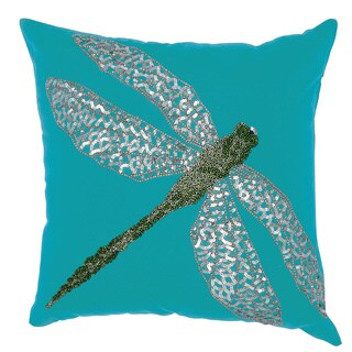 Mina Victory Indoor/ Outdoor Beaded Dragonfly Turquoise/ Green Throw Pillow by Nourison (18-Inch X 18-Inch)