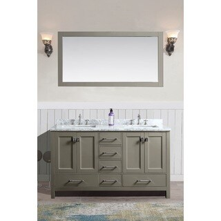 Bella 60-inch Grey Double Bathroom Vanity Set with Mirror