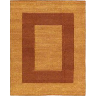 Ecarpetgallery Brown Cotton/Wool Hand-woven Kilim Rug (6'8 x 8'4)