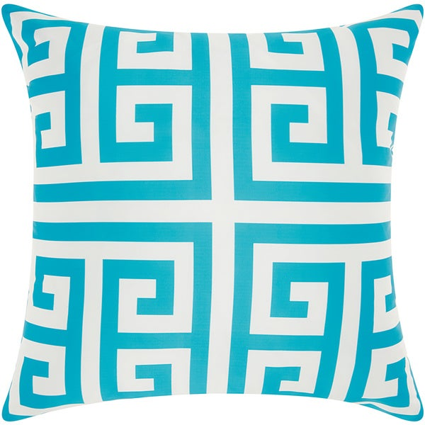 Mina Victory Indoor/ Outdoor Greek Key Turquoise Throw Pillow by Nourison  (20 x 20-inch)