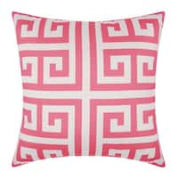 Mina Victory Indoor/ Outdoor Greek Key Hot Pink Throw Pillow (1'8 x 1'8)