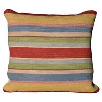 Mina Victory Nourmak Stripe Blue Throw Pillow by Nourison (20-Inch X 20-Inch)