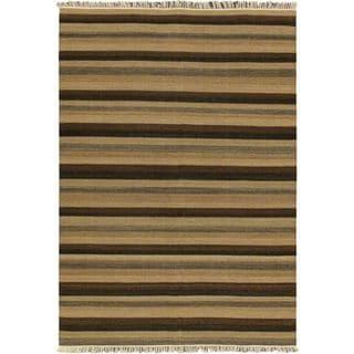 eCarpetGallery Brown Wool Hand-woven Fiesta Kilim (5'7 x 7'10)