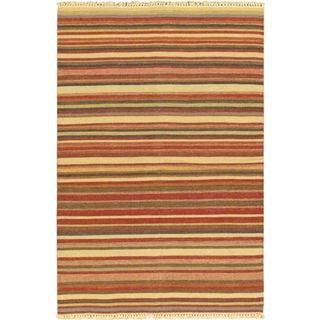 eCarpetGallery Kaleidoscope Red Wool Handwoven Kilim (4'7 x 7'3)