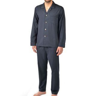 Majestic Men's Signature Herringbone Long Sleeve Cotton Pajama Set X-Large Size in Black (As Is Item)