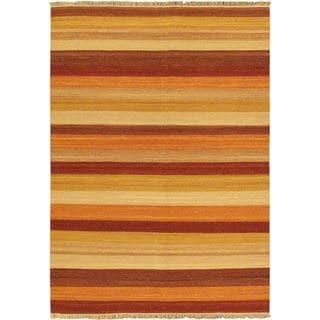 eCarpetGallery Fiesta Multicolor Wool Striped Reversible Handwoven Flatweave Kilim Rug (5'7 x 7'10)