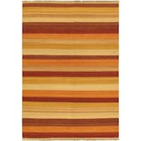 eCarpetGallery Fiesta Multicolor Wool Striped Reversible Handwoven Flatweave Kilim Rug - 5'7 x 7'10
