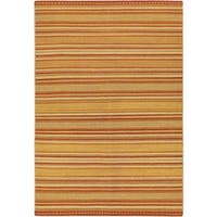 ecarpetgallery Jalal Tuareg Orange Wool Hand-woven Kilim (5'7 x 7'10)