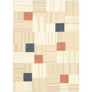 eCarpetGallery Cream/Copper/Khaki/Navy Wool Flatweave Abstract Kilim Rug (5'7 x 7'8)
