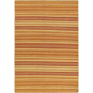 eCarpetGallery Jalal Tuareg Orange Wool Handwoven Kilim (5'7 x 7'10)