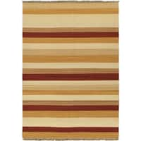 eCarpetGallery Kilim Fiesta Orange Hand-woven Wool Rug (5'7 x 7'10)
