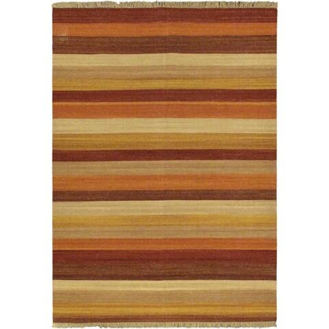 """ecarpetgallery Orange Wool Reversible Flatweave Rug (5'7 x 7'10) - 5'7"""" x 7'10"""""""