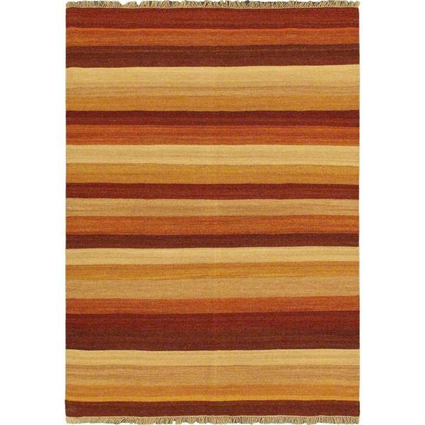 Ecarpetgallery Orange Wool Reversible Flatweave Rug (5' 7 x 7' 10)